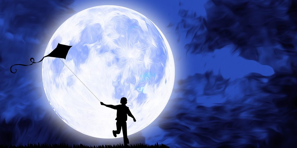 kite and moon